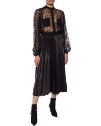 Givenchy Logo Waistband Pleated Midi Skirt - Black