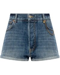 Givenchy Denim Shorts With Logo Blue