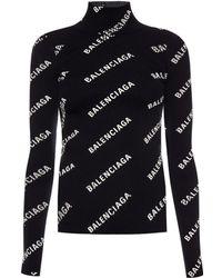 Balenciaga Alllover Logo Open Back Jumper - Black