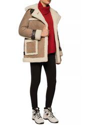 AllSaints 'bronx' Sheepskin Coat With Peak Lapels Brown
