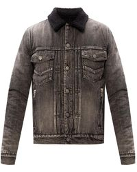 Balmain Denim Jacket With Fur Lining Gray
