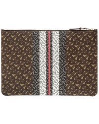 Burberry Brown Monogram Stripe Leather Zip Pouch