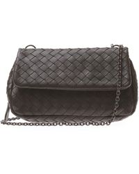 3e6ce67a7255 Lyst - Bottega Veneta Patent Leather Handle Bag Black in Natural