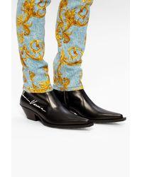 Versace Heeled Cowboy Boots - Black