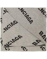 Balenciaga Patterned Scarf - Gray