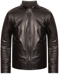 Emporio Armani Leather Jacket With Band Collar - Black