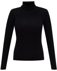 Ganni Wool Turtleneck Sweater With Cut-out Gray