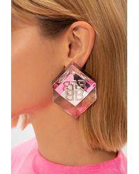 Balenciaga Logo Earrings Pink