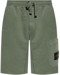 Stone Island Logo-patched Shorts Green