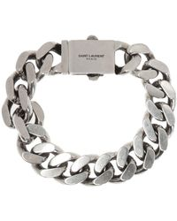 Saint Laurent Branded Bracelet - Metallic