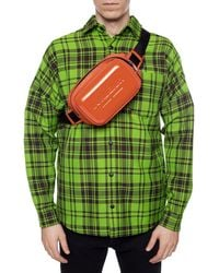 Burberry Logo Embossed Panel Nylon Bum Bag - Orange