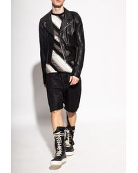 Rick Owens Leather Biker Jacket Black