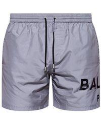Balmain Swim Shorts With Logo - Grey