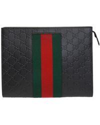 Gucci Web Stripe Clutch - Black
