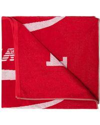 Emporio Armani Towel With Logo Unisex Red