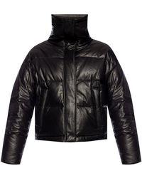 Yves Salomon Leather Down Jacket Black