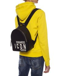DSquared² Icon Print Backpack - Black