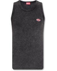 DIESEL Ribbed Sleeveless Top - Grey