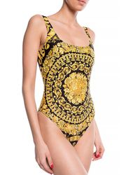Versace Barocco Print Swimsuit - Black
