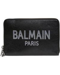 Balmain Clutch Bag With A Logo - Black