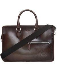 Berluti Embossed Briefcase - Brown