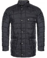 Ferragamo Quilted Jacket With A Band Collar - Blue