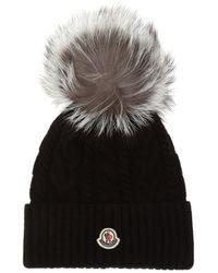 Moncler Fur Pompom Hat - Black