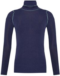 PS by Paul Smith Ribbed Turtleneck Sweater - Blue