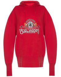 Vetements Oversized Printed Hoodie - Red