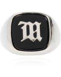 MISBHV Ring With Logo Unisex Silver - Metallic