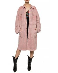 DIESEL Long Jacket With Collar Pink