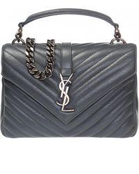 d48b1877235 Saint Laurent Medium Monogramme College Bag With Wooden Handle in ...
