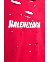 Balenciaga Sweatshirt With Holes Red