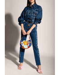 Versace Denim Shirt With Logo Blue