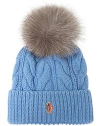 3 MONCLER GRENOBLE Wool & Cashmere Cable Knit Hat - Blue
