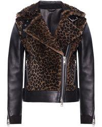 AllSaints 'elia' Shearling Biker Jacket - Black