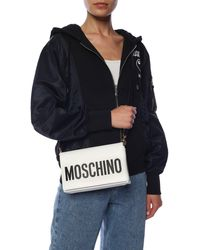 Moschino Signature Leather Shoulder Bag - White