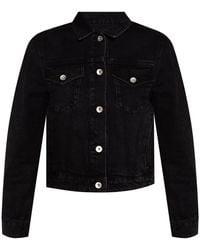 Rag & Bone Distressed Denim Jacket Black
