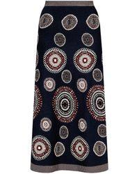 Alaïa Patterned Skirt Navy Blue