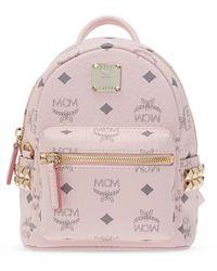 MCM Stark Visetos Backpack With Side Studs - Pink