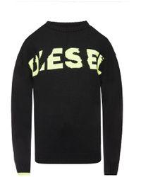 DIESEL Logo-embroidered Sweater - Black