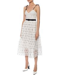 Self-Portrait Polka-dot Midi Dress - White