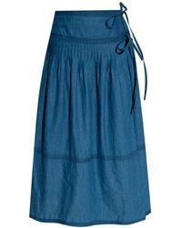 Tory Burch Chambray Tiered Skirt - Blue