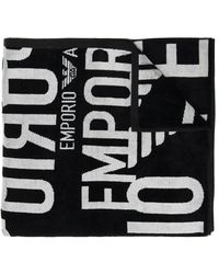 Emporio Armani Towel With Logo Unisex Black