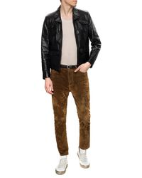 Saint Laurent Suede Trousers Brown