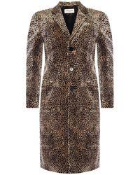 Saint Laurent Coat With Notch Lapels Brown
