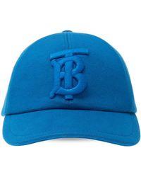 Burberry Tb Monogram Baseball Cap - Blue