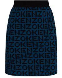 KENZO Logo-embroidered Skirt - Blue