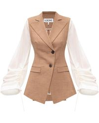 Loewe Blazer With Notched Lapels Brown