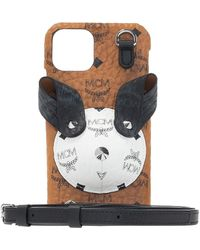 MCM Strapped Iphone Xs Case Unisex Brown